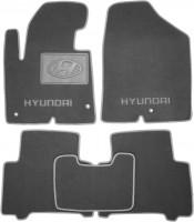 Коврики в салон для Hyundai Santa Fe '13-17 DM текстильные, серые (Премиум)
