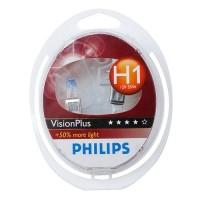 Автомобильная лампочка Philips VisionPlus H1 12V 55W (комплект: 2 шт.)