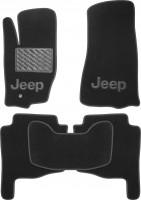 Коврики в салон для Jeep Grand Cherokee '04-10 текстильные, черные (Премиум)