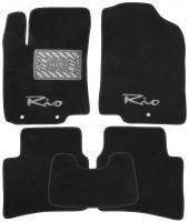 Коврики в салон для Kia Rio '11-15 текстильные, черные (Премиум)