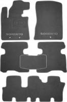 Коврики в салон для Kia Sorento '13- текстильные, серые (Премиум) 1+2+3 ряд