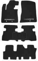 Коврики в салон для Kia Sorento '13- текстильные, черные (Премиум) 1+2+3 ряд