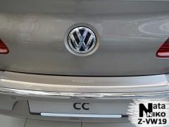 Накладка с загибом на бампер для Volkswagen Passat CC '12-16 (Premium)