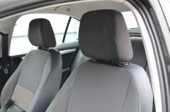 Авточехлы Premium для салона Skoda Octavia A7 '13-17, лифтбек, красная строчка (MW Brothers)