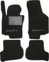 Коврики в салон для Seat Leon '05-12 текстильные, черные (Премиум)