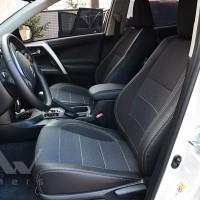 Авточехлы Premium для салона Toyota RAV4 Hybrid '19-, серая строчка (MW Brothers)