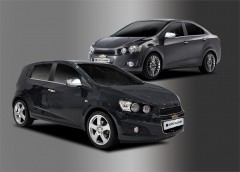 Накладки на зеркала Chevrolet Aveo '11- (Хром) 2 шт. Без поворотов
