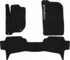 Коврики в салон для Mitsubishi Pajero Sport '08-16 текстильные, черные (Премиум)