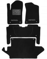 Коврики в салон для Nissan Patrol '10- текстильные, черные (Премиум) 1+2+3 ряд