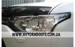 Защита  фар для Mitsubishi Outlander '12- прозрачная 2 шт. (EGR)
