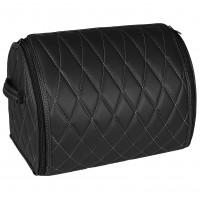 Органайзер в багажник Leather ромб-аметрия, черный с белой строчкой (Inliner)