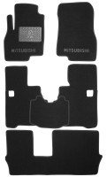 Коврики в салон для Mitsubishi Grandis '03-11, 7 мест, текстильные, черные (Люкс) 1+2+3 ряд