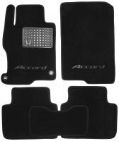 Коврики в салон для Honda Accord '13- текстильные, черные (Люкс) 2 клипсы