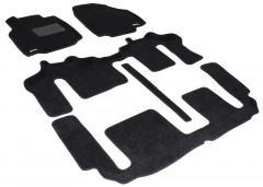 Коврики в салон для Mazda CX-9 '08-16 текстильные 3D, черные (3D Mats) 1+2+3 ряд,