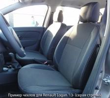 Авточехлы Premium для салона Renault Logan '13-15 красная строчка, с деленой спинкой (MW Brothers)