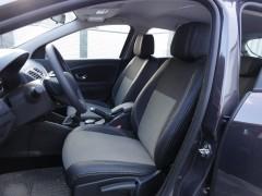 Авточехлы Premium для салона Renault Megane '08-16 серая строчка с цельной спинкой (MW Brothers)