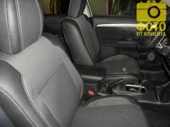 Авточехлы Premium для салона Mitsubishi Outlander '12- серая строчка (MW Brothers)