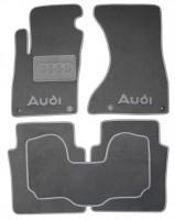 Коврики в салон для Audi A8 '03-10 Long, текстильные, серые (Люкс) 4 клипсы