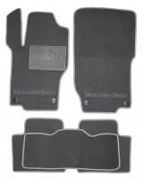 Коврики в салон для Mercedes ML-Class W164 '05-11 текстильные, серые (Люкс) 4 клипсы