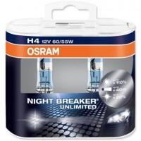 Фото 1 - Автомобильная лампочка Osram Night Breaker Unlimited H4 12V (комплект: 2шт)
