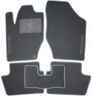 Коврики в салон для Peugeot 308 '08-13 текстильные, серые (Люкс) 2 клипсы