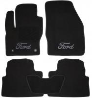 Коврики в салон для Ford Kuga '08-13 текстильные, черные (Люкс) 2 клипсы