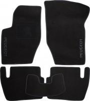 Коврики в салон для Peugeot 307 '01-07 текстильные, черные (Люкс) без лентяйки