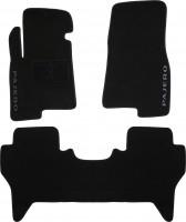Коврики в салон для Mitsubishi Pajero Wagon 3 '00-07 текстильные, черные (Люкс)