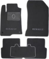 Коврики в салон для Renault Laguna '07-15 текстильные, серые (Люкс) 2 клипсы