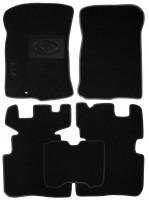 Коврики в салон для Kia Carens '07-12 текстильные, черные (Люкс) МКПП