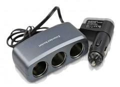 Разветвитель прикуривателя на 3 гнездa + USB R15