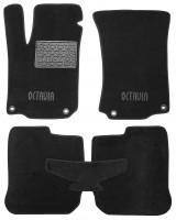 Коврики в салон для Skoda Octavia '97-09 текстильные, черные (Люкс) 4 клипсы