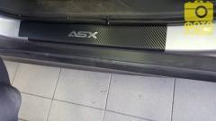 Фото 1 - Накладки на пороги карбон для Mitsubishi ASX '10- (Premium+k)