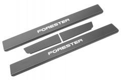 Фото 1 - Накладки на пороги карбон для Subaru Forester '08-12 (Premium+k)