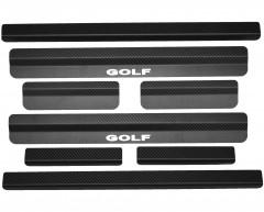 Накладки на пороги карбон для Volkswagen Golf VI '09-12 универсал (Premium+k)