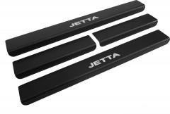 Фото товара 1 - Накладки на пороги карбон для Volkswagen Jetta VI '11- (Premium+k)