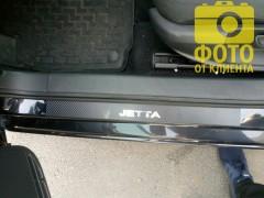 Фото товара 7 - Накладки на пороги карбон для Volkswagen Jetta VI '11- (Premium+k)