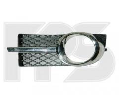 Решетка бампера для Chevrolet Aveo '06-11 под ПТФ, правая (комплект с хром. накладкой) (FPS)