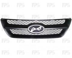Решетка радиатора для Hyundai Sonata '05-07 черная (FPS)