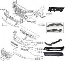 Решетка бампера для Volkswagen Passat B6 '05-10 без ПТФ, правая (черная) (FPS)