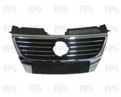 Решетка радиатора для Volkswagen Passat B6 '05-10 хром, без парктроника, под большой логотип (FPS)