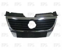 Решетка радиатора для Volkswagen Passat B6 '05-10 черная, без парктроника, под большой логотип (FPS)