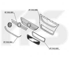 Решетка радиатора для Volkswagen Touareg '07-09 хром рамка, нижняя (FPS)