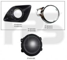 Решетка бампера для Mitsubishi ASX '10-13 под ПТФ, левая (с хром. окуляром) (FPS)