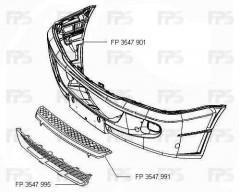 Решетка бампера для Mercedes Sprinter '06- (FPS)