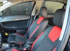 Авточехлы Leather Style для салона Mitsubishi Lancer X (10) мотор 2. 0, красные (MW Brothers)