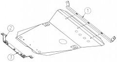 Фото 1 - Защита двигателя и КПП, радиатора для Ford Contour '94-00, V-2,0 (Кольчуга)