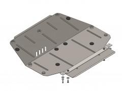 Защита картера двигателя и КПП, радиатора для Volkswagen Polo '01-09, V-1,2, на объем 1.2 спец.простав. (Кольчуга)