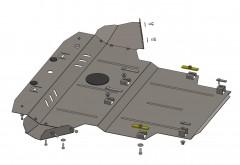 Защита картера двигателя и КПП для Skoda Superb I '01-08, V-все, кроме 1.8 Т МКПП (Кольчуга)