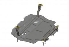 Защита картера двигателя и КПП, радиатора для Volkswagen Caddy WeBasto, 10-15, V-2,0D, МКПП (Кольчуга)